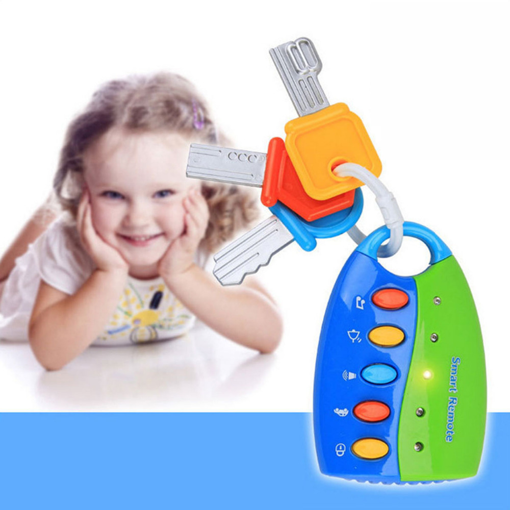 Gags & Practical Jokes 1PC Musical Car Key Toy Baby Toy 10cm Smart Remote Voices Pretend Play Education Safe Eco Friendly ABS