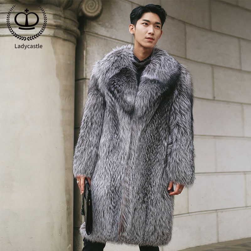 100 Cm Long Real Fox Fur Coat Men Natural Genuine Sliver Fox Fur Jacket Turn-Down Collar Winter Fashion Warm Fox Fur Coat FM-002