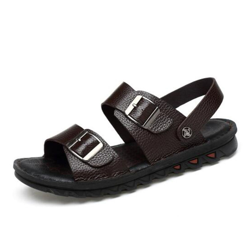 Men Casual Genuine Leather Buckle Strap Casual Slippers Sandals,Non-slip Wear-resisting Dual-purpose Shoes Sandals Size 37-47