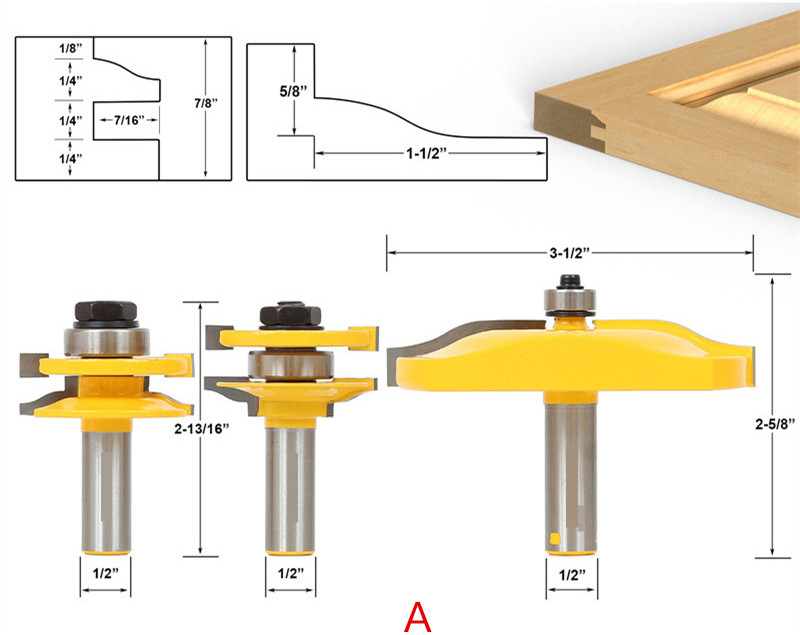 Freeshipping 3 pcs/lot 1/2 Handle Panel Cabinet Door Router Bit Wood Milling Cutter wood wroking tool  цены