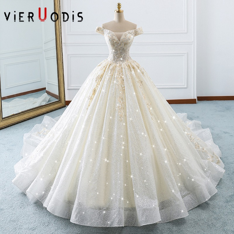 2019 New Style Vestido De Noiva Princesa Capped Sleeves Luxury Royal Train Weding Dress Off the Shoulder Hochzeitskleid Bridal