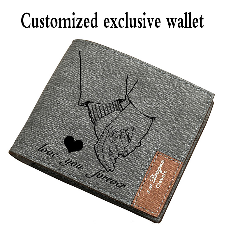 New Wallet Men Short Ultra-thin Young Students Simple Fashion Diy Customized Photo Lettering Printing Picture Wallet Gift Wallet