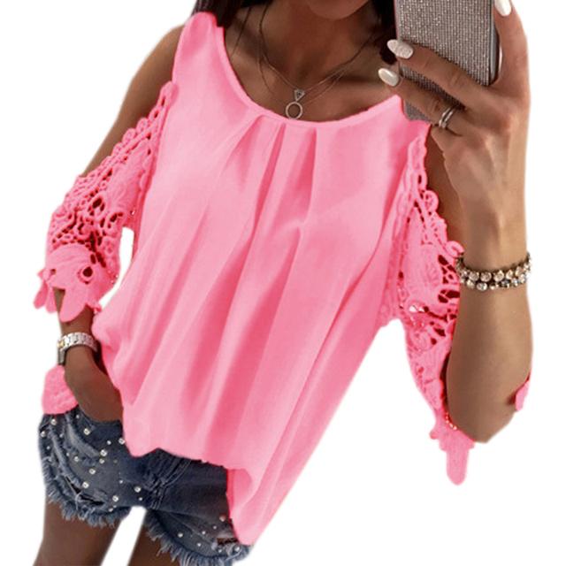 ed078ae526718 2018 Casual Summer Solid Lace Patchwork Shirts Half Sleeve Sexy Sun-top  Women Cold Shoulder Chiffon Blouses Tops Plus Size GV381