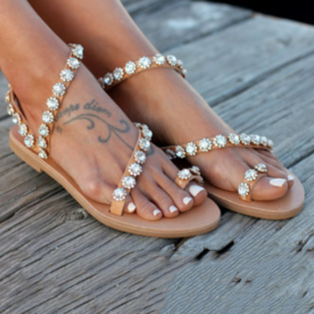 HTB1.sChbELrK1Rjy1zbq6AenFXaP Women Sandals Gladiator 2019 Summer Casual Shoes Bohemia mujer Wedding Shoes Crystal feminina Ladies Flip Flops Beach Sandals
