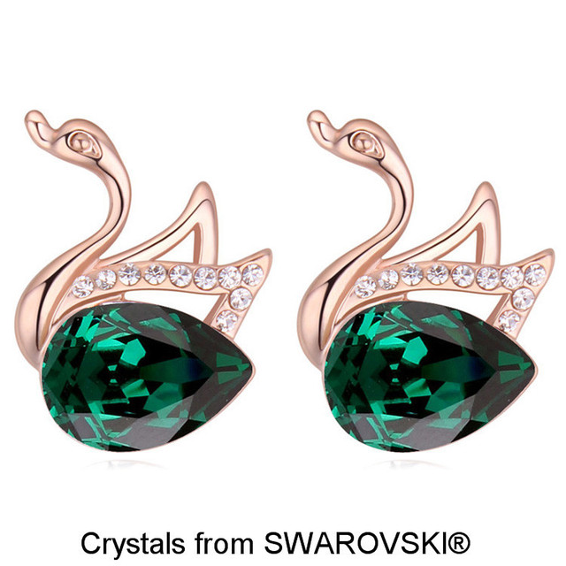 Women S Rose Gold Color Swan Design Stud Earring Made With Swarovski Elements Water Drop Crystal