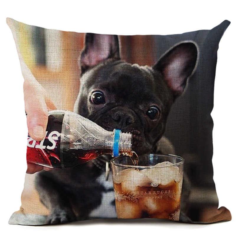الحيوان الفرنسية بلدغ غطاء الوسادة الصلصال الكلب المخدة المنسوجة غطاء الوسادة القطن الكتان سيارة اليورو وسادة يغطي الزخرفية
