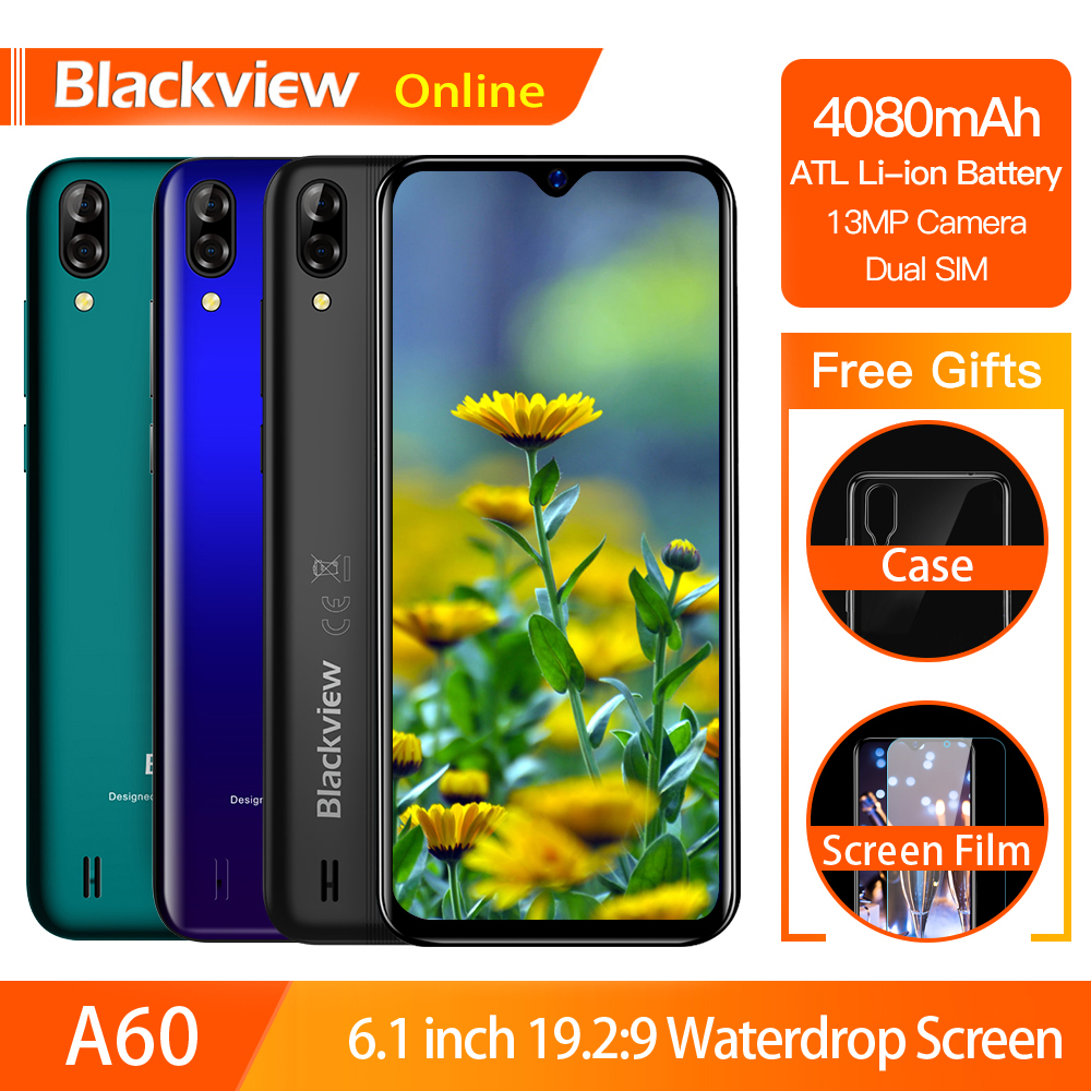 Blackview A60 Original Smartphone 4080mAh 19.2:9 Waterdrop HD Screen Cellphone 1GB+16GB Android 8.1 13MP+5MP RGB 3G Mobile Phone