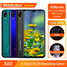 Blackview A60 Original Smartphone 4080mAh 19.2:9 Waterdrop HD Screen Cellphone 1GB+16GB Android 8.1 13MP+5MP RGB 3G Mobile Phone(China)