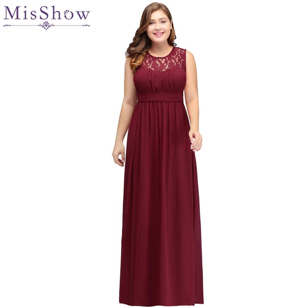 2019 Burgundy Bridesmaid Dresses Plus Size Long Chiffon Wedding Bridesmaid Gown Lace Maxi Formal Party Gowns Vestido Dresses