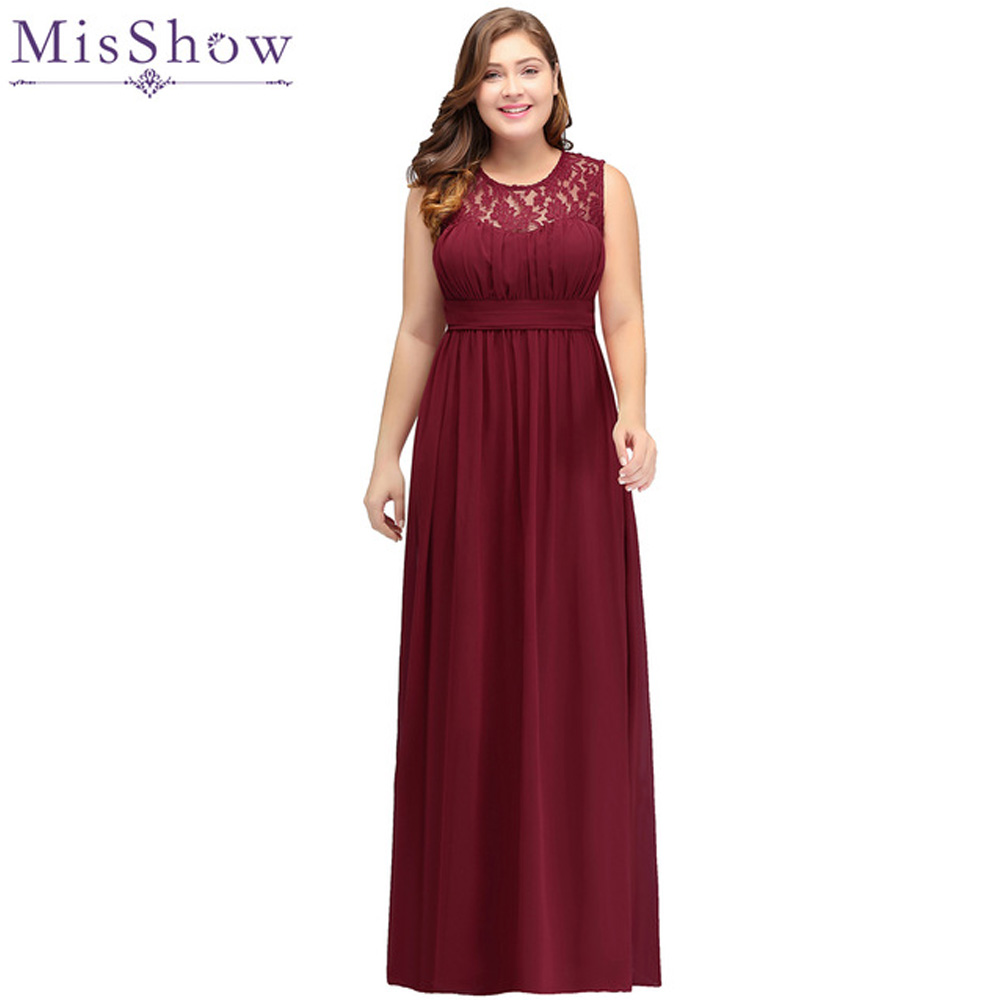 2019 burgundy Bridesmaid Dresses plus size Long Chiffon Wedding Bridesmaid Gown Lace Maxi Formal Party Gowns Vestido Dresses