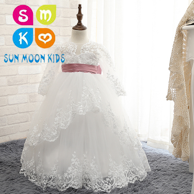 2018 New Hot White Lace Flower Girls Dresses With Belt Long Sleeve Girls First Communion Dress Princess Wedding Dress Ball Gown white lace girls first communion dress ball gown birthday dress half sleeve long princess flower girls dresses for wedding