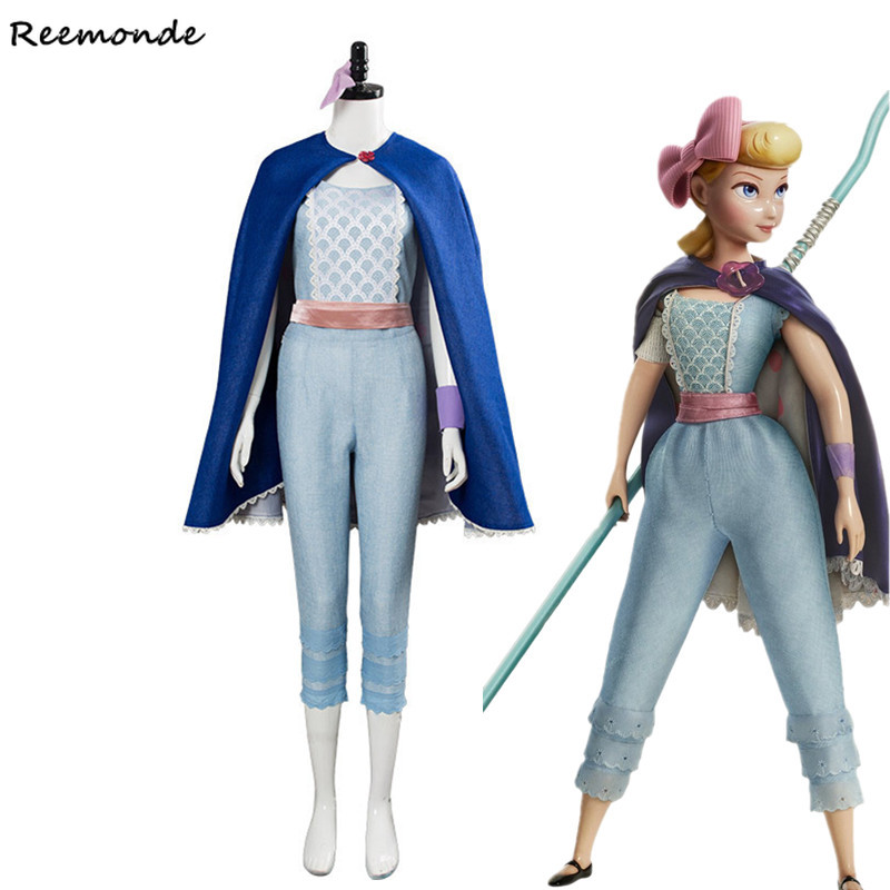 Movie Toy Story 4 Bo Peep Cosplay Costume Shepherdess Woody Top Pants Cloak Full Set Suit Girls Woman Halloween Carnival Clothes