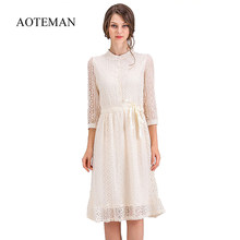 38962e3aa8 AOTEMAN jesień zima kobiety sukienka New Vintage Hollow Out solidna Lace sukienka  kobiet elegancki słodki Plus