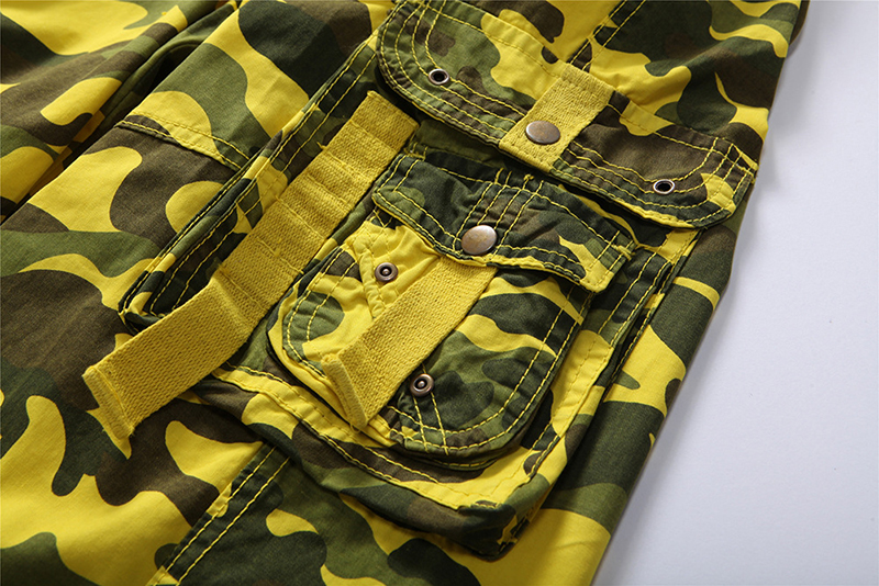310ca4e87b Summer Multi Pocket Army Bermuda Camouflage Cargo Shorts Men Camo Yellow  Orange Washed Black Snow Grass-in Casual Shorts from Men's Clothing on ...