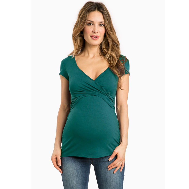 Más tamaño v-cuello corto manga maternidad lactancia materna embarazo camisetas enfermería ropa para mujeres embarazadas alimentación camisetas