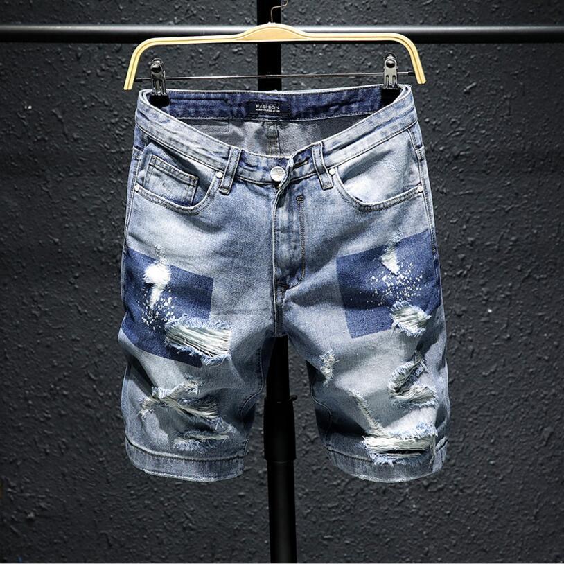 Men Light Blue Short Jeans New Summer Holes Denim Shorts High Quality Men Straight Casual Jean Shorts Fashion Style Size 27-36
