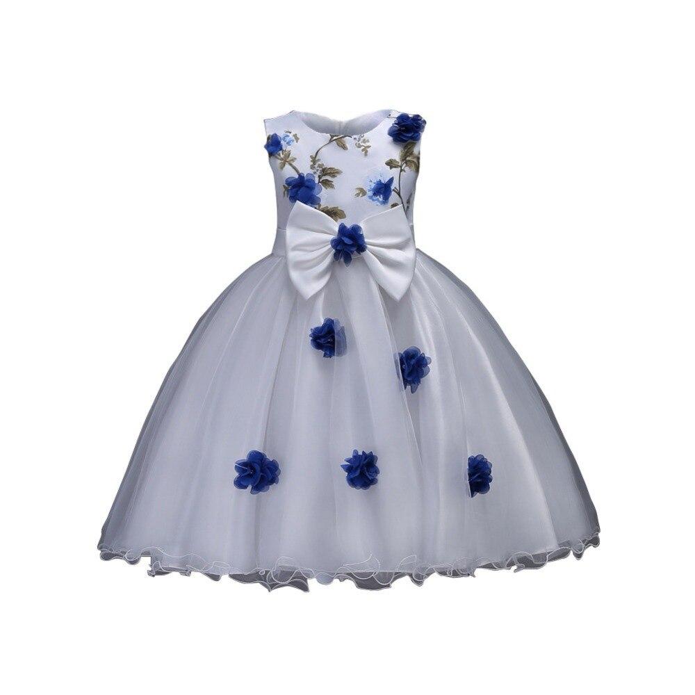 WEIXINBUY Flower Girl Dress Summer Clothes Girl Wedding Embroidery Dresses Kids's Party Wear Costume For Girl Children M2