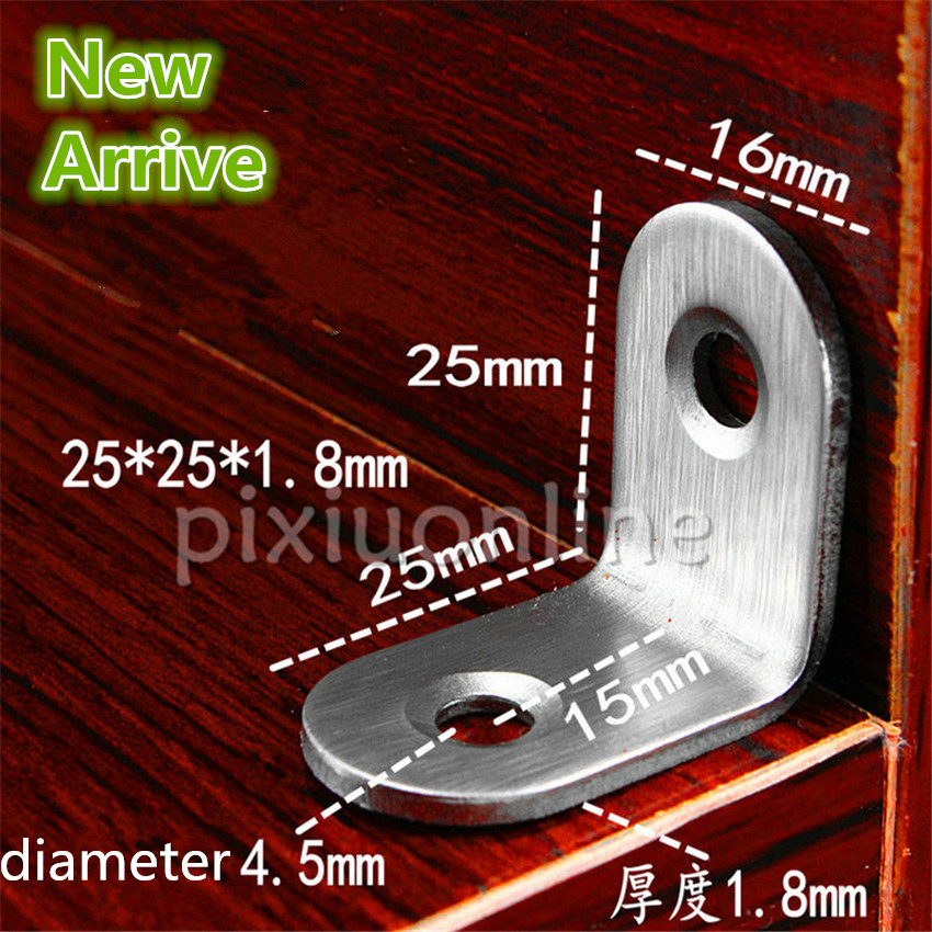 5pcs DS272b Standard 25*25*1.8mm Aperture Diameter 4.5mm Stainless Steel Corner Bracket DIY Woodworking Furniture Spain россия шк в ярославле 25 5