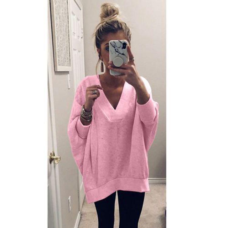 Autumn and winter solid fashion woman sweatshirt full pullovers batwing sleeve comfortable sweatshirt