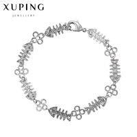 Silver Color Fish Bone Design Bracelets Bangles Women Charm Bracelet Jewelry 2017 New Womens Clothing Accessories