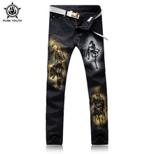 Punk Youth Male Black Tiger Print Jeans Shorts Male Casual Trousers rend Slim Small Trousers For Men's Clothing Large Size 28-38