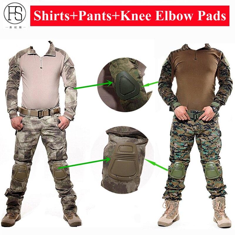 Uniforme militaire de L'armée Combat Shirt Tactique Vêtements de Chasse Camouflage Costume Woodland Paintball Grenouille Set Airsoft Sniper Avec Des Tampons
