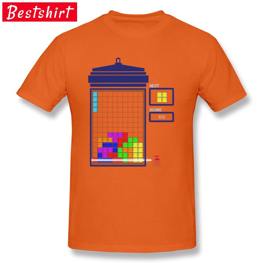 Winter Funny Orange Tops T Shirt Tardis Tetris Rainbow Doctor Who Tshirt For Men Happy New Year Christmas T-Shirt Best Gift Футболка