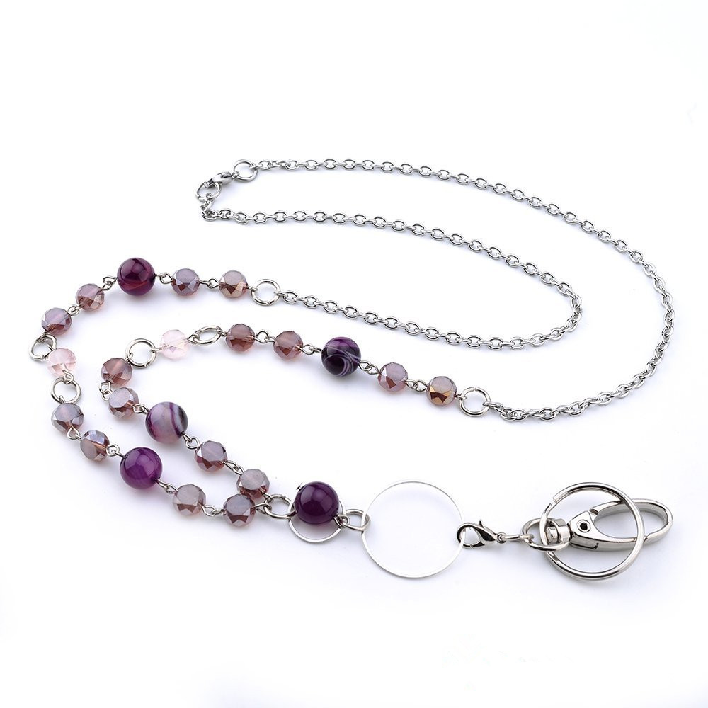 Fashion Design Different Colors Crystal Badge Lanyards ID Necklaces ID Badge Holder for teachers, nurses and other OL