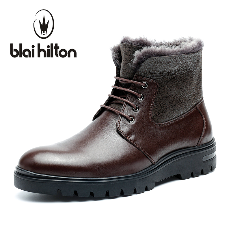 Blaibilton New Autumn Winter 100% Genuine Leather Cow Sheepskin Wool-One Patchwork Snow Boots Men Shoes Warm Fur Mens Ankle Boot