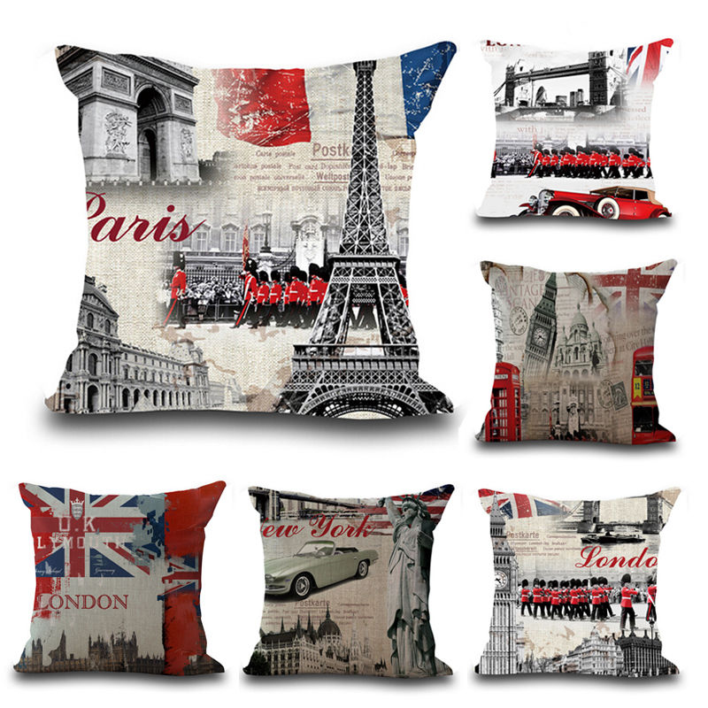 Vintage London Paris Cushion Cover Throw Pillow Covers Car Print Pillow Case  For Sofa Car Pillowcases