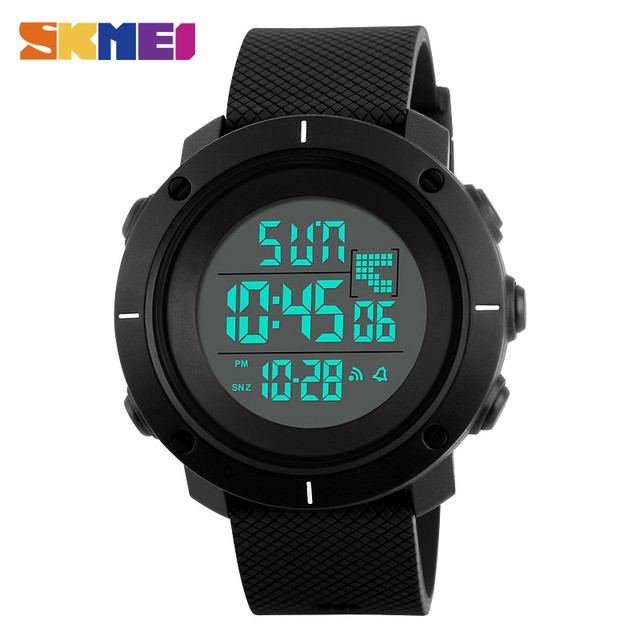 Skmei 1213 homens esporte digital watch moda esportes ao ar livre relógios de vidro resina despertador levou relógios de pulso novo