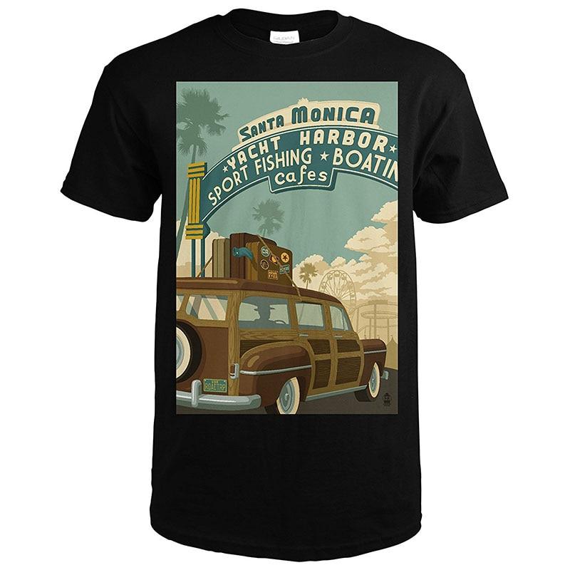 -Футболки Дизайн Для мужчин Санта Моника Калифорния ROUTE 66 Pier сцены экипажа Средства ухода за кожей шеи с коротким рукавом Высокий Футболка