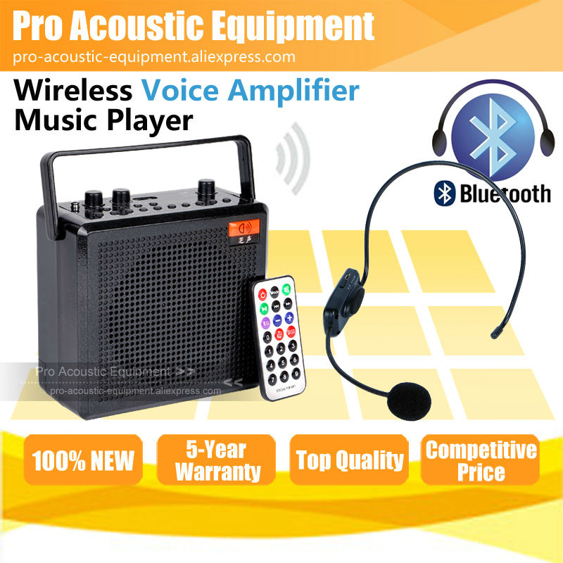 free shipping 68w portable wireless headset microphone bluetooth voice amplifier recording. Black Bedroom Furniture Sets. Home Design Ideas