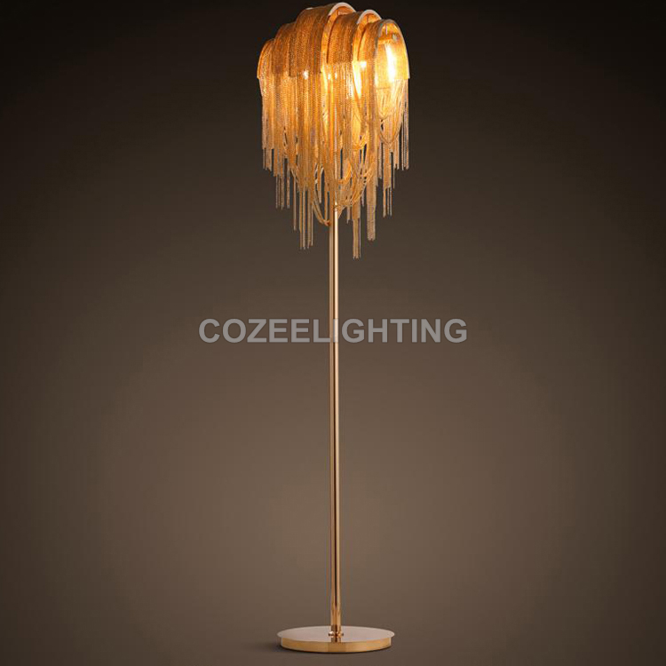 Aluminum Chain Floor Lamp Standing Lighting Modern Style Floor Light Indoor Lighting Home Restaurant Living and Dining Room modern wooden floor lamps bookshelf floor stand lights tea table standing lamp living room bedroom locker nightstand lighting