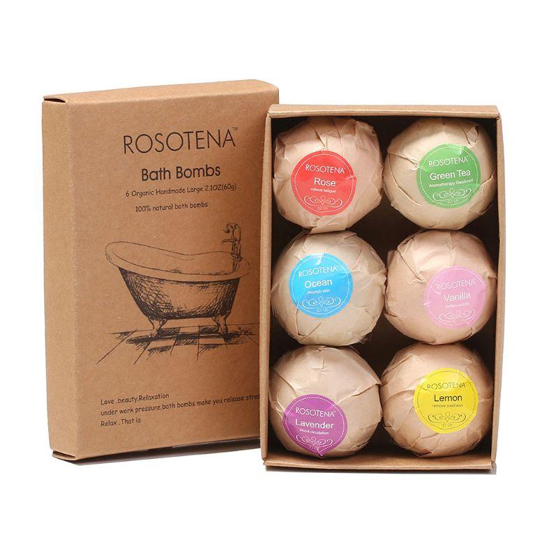 6 Pcs Bath Bombs Salt Ball Fizzy Bubble Spa Organic Natural Ingredients Dry Skin Moisturizing Exfoliation Perfect Gift