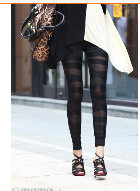 1pcs/lot free shipping woman Sexy Women Hollow out Leggings Lace Leggings binding milk silk slim black legging free size