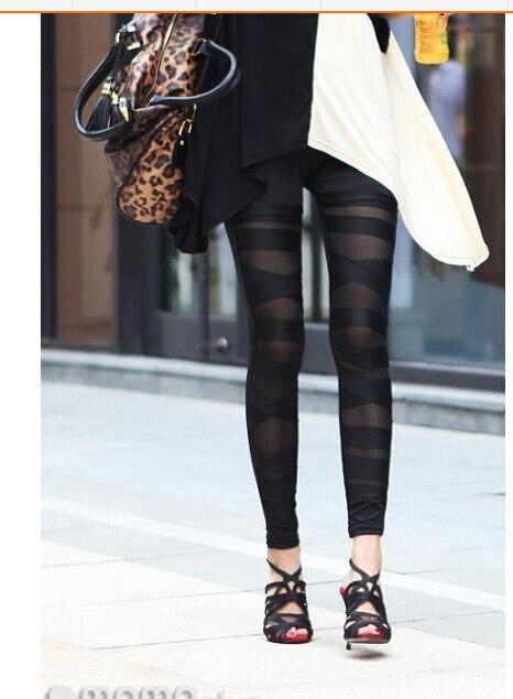 1pcs/lot free shipping woman Sexy Women Hollow out Leggings Lace Leggings binding milk silk slim black legging free size