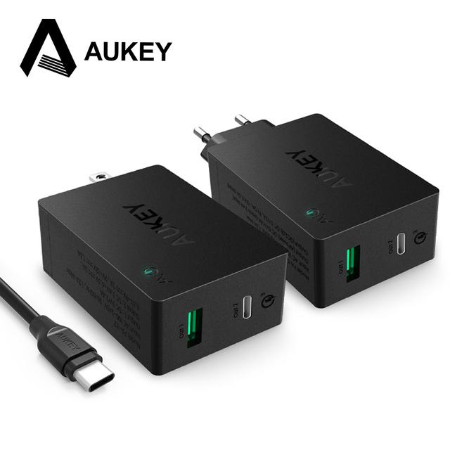 Aukey usb c tipo de carga rápida 3.0-c dupla porta carregador de parede ue/eua plug com usb-c cabo para lg g5 htc 10 nexus 6 p xiaomi & mais