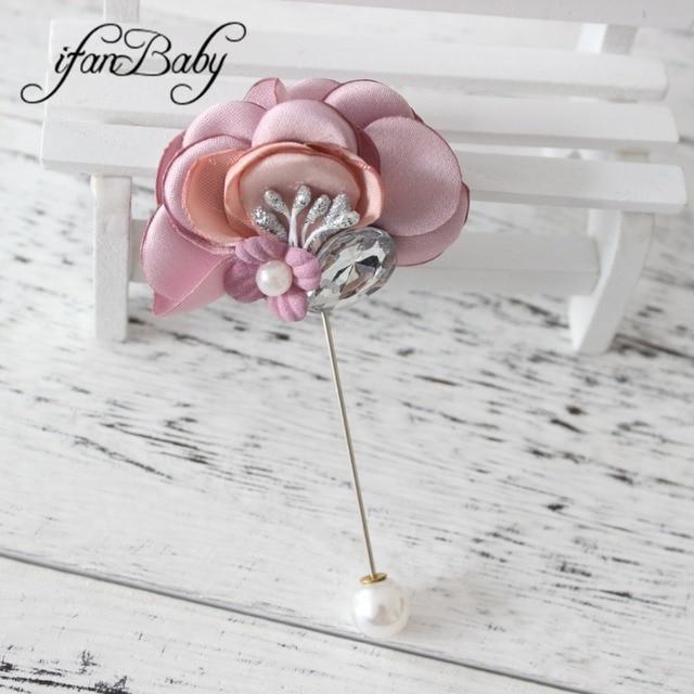 New fashion women men flower pins lapel pin boutonniere fabric burn flower  pin for suit wedding b800e73e4