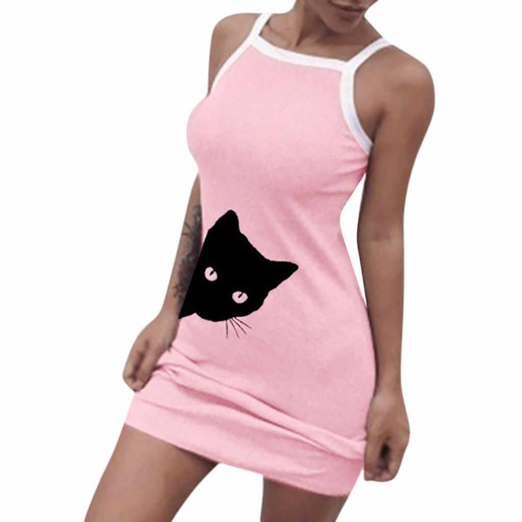 夏のファッションの女性のカジュアルドレス女性のセクシーな猫プリントスリムミニドレスレディース大サイズ快適なドレス婦人 jurken
