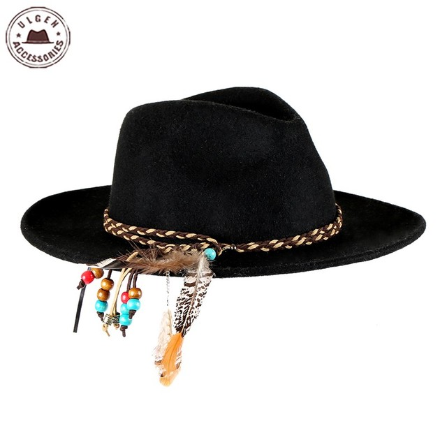 Ulgen diseñado moda vintage sombrero con pluma gris sombrero fedora de lana  sombrero de las mujeres 18520074d58