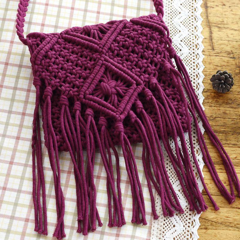 Vintage Ethnic Summer Knitted Bags Handmade Woven Tote Women Travel Crossbody Bags Tassel Designer Shopping Shoulder Bag