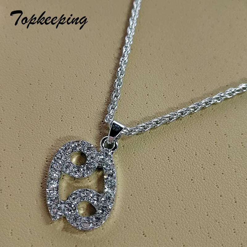 Gifts Sale Zodiac Sign 12 Constellations Pendant Iced Out Rhinestone Clavicle Chain Women & Mens Jewelry Necklaces for Hip Hop(China)
