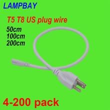 4 200 adet T5 T8 ABD Fiş Kablosu 50 cm 100 cm 200 cm 3 Prong Güç Kabloları Elektrik tel için kullanılan LED floresan lamba Entegre Fikstür