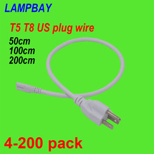 4 200pcs T5 T8 US Plug Cable 50cm 100cm 200cm 3 Prong Power Cords Electric Wire used for LED Tube Light Integrated Fixture