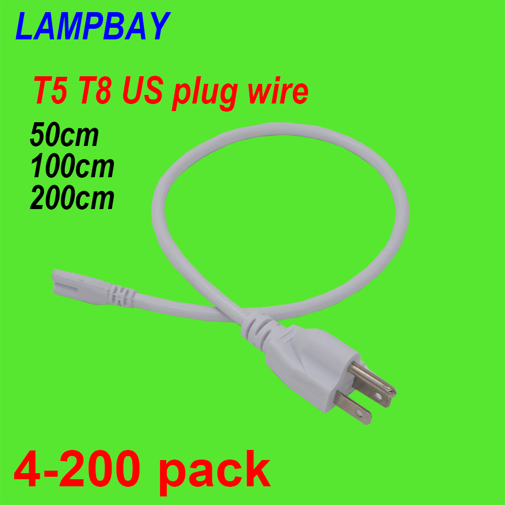 4-200pcs <font><b>T5</b></font> T8 US <font><b>Plug</b></font> Cable 50cm 100cm 200cm 3 Prong Power Cords Electric Wire used for LED Tube Light Integrated Fixture image