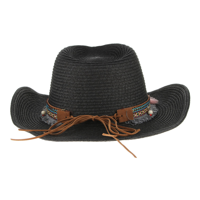 Ethnic Handmade Knitted Straw Hat Women Men Summer Hats Western ... fb8511763341