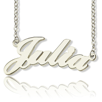 Wholesale Women's Custom Nameplate Necklace Personalized Silver 925 JULIA Style Name Necklaces Minimalist Jewelry Collier Femme