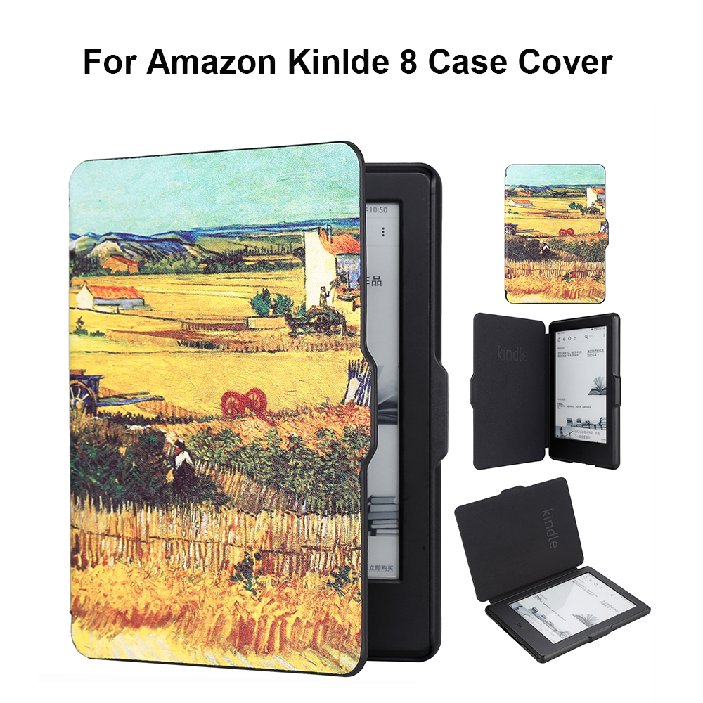 For Amazon Kindle 8 Case 2016 Model Van Gogh Design Skin Auto Wake Up/Sleeping 6 Inch Case With Screen Protector Gadget of Cover gadget