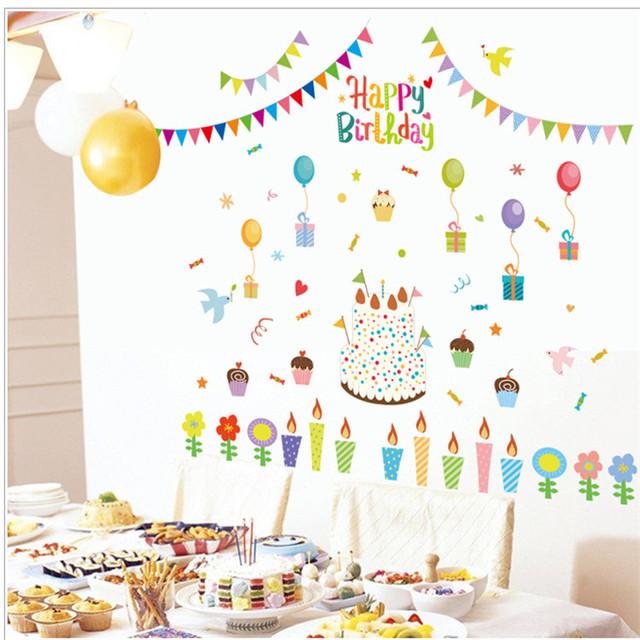 Happy Birthday Background Wall Decal Sticker Art Mural Removable